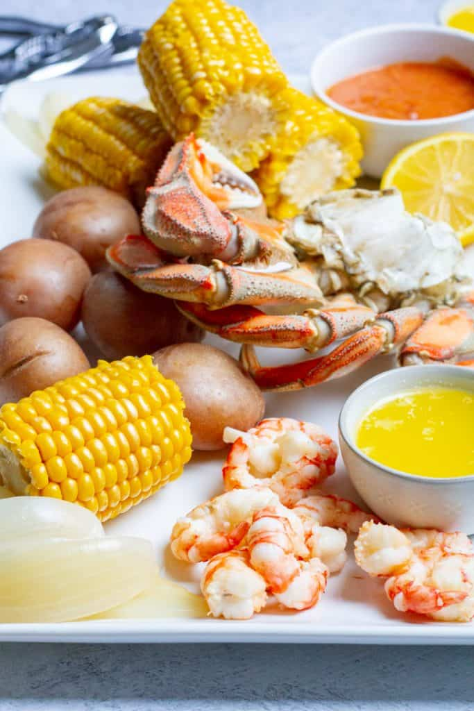 seafood boil (lowcountry boil) for two on a platter