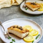 pan-seared halibut on a plate