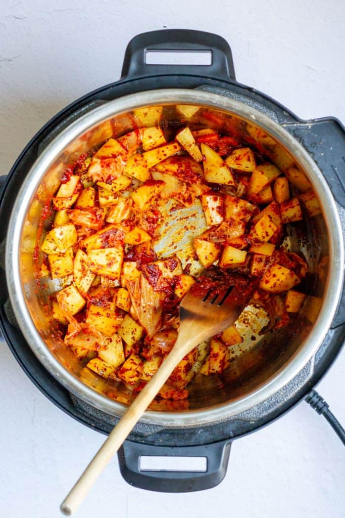 Cook Kimchi + Potatoes with Spices