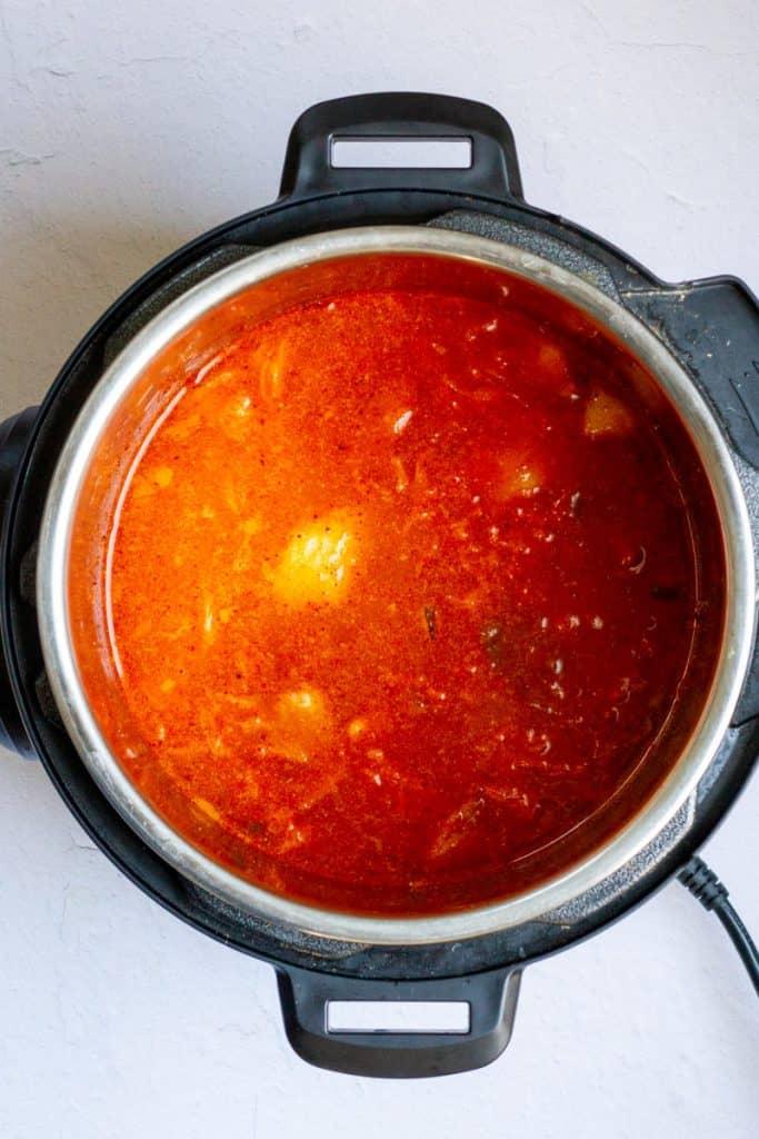 Add Broth to Kimchi Soup