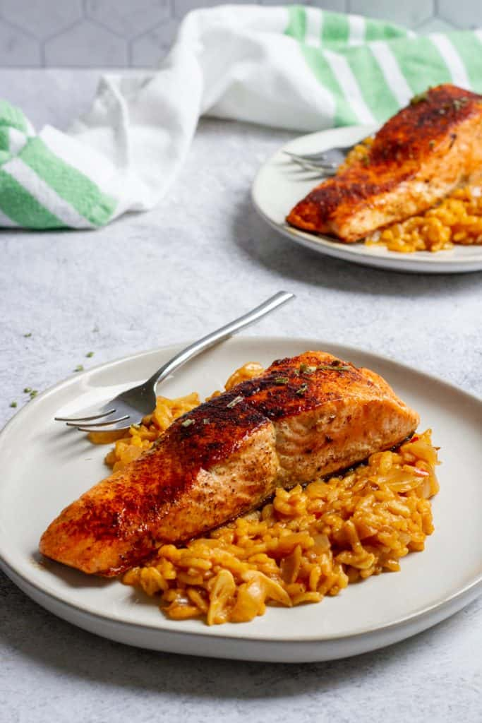 salmon plated with risotto