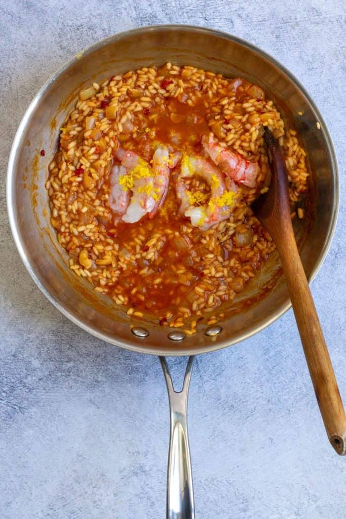 Add Shrimp + Zest to Broth + Rice