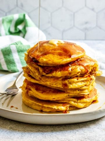 sourdough pumpkin pancakes on a plate