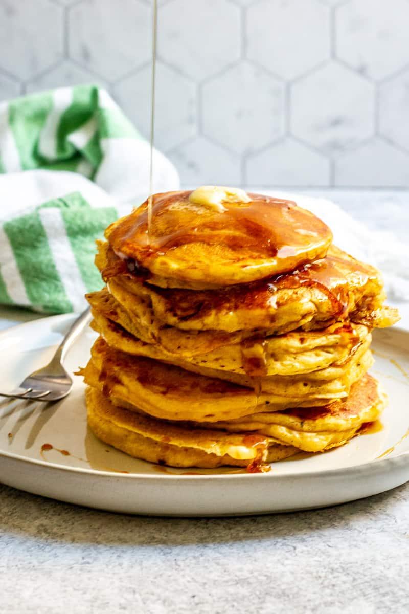 sourdough pumpkin pancakes on a plate