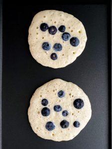Pour Pancake Batter + Add Blueberries