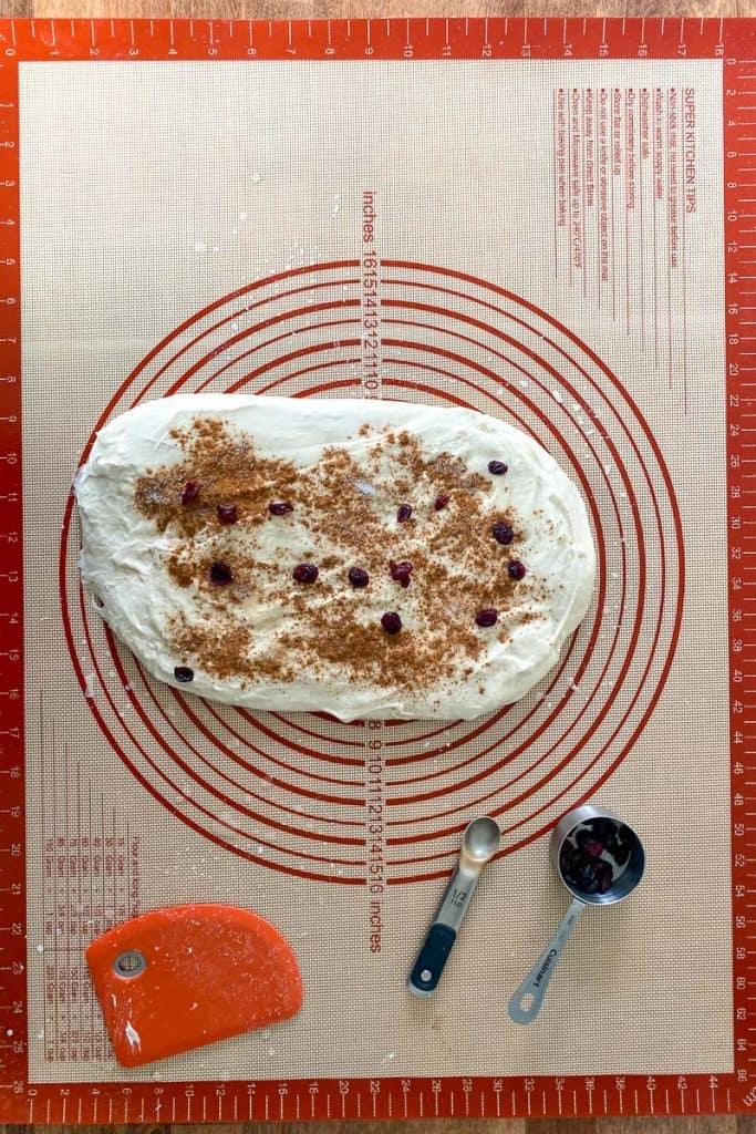 Spread Dough + Add Cinnamon, Sugar + Dried Fruit