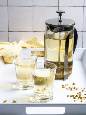 Cold-Brew Chamomile on a Serving Platter with Glasses