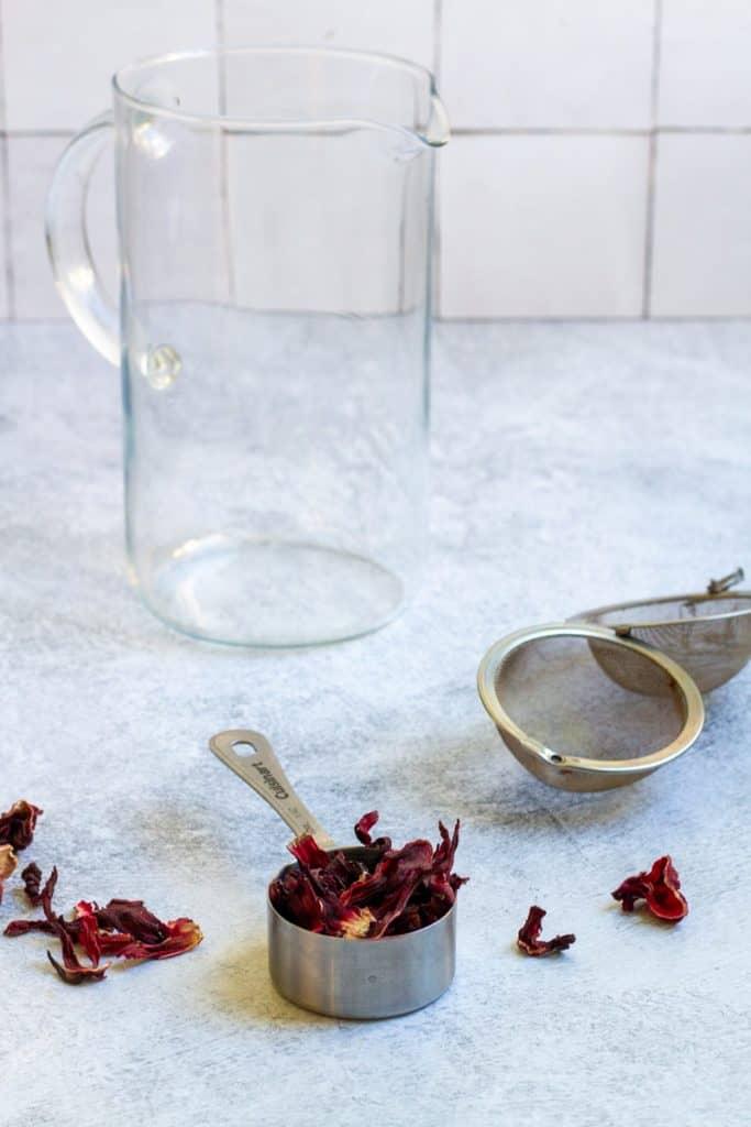 Dried Hibiscus, a Tea Ball + a Pitcher