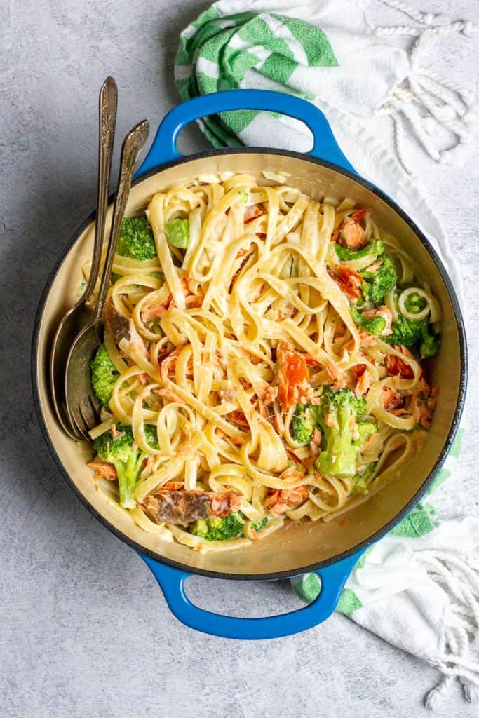 salmon broccoli pasta in a serving dish