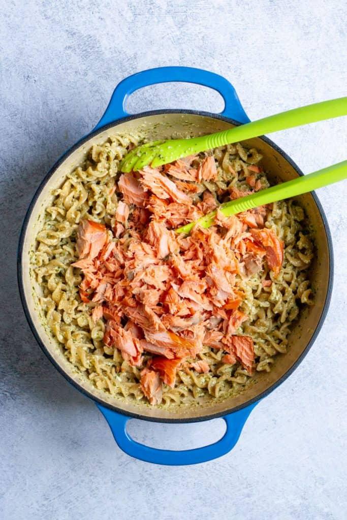 Add Smoked Salmon to Pesto Pasta