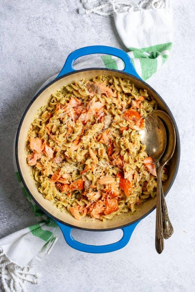 smoked salmon pesto pasta in a serving bowl