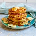 sourdough oatmeal pancakes on a plate