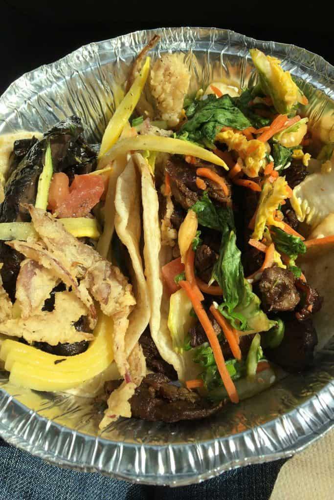 Vegetarian taco and Korean BBQ taco