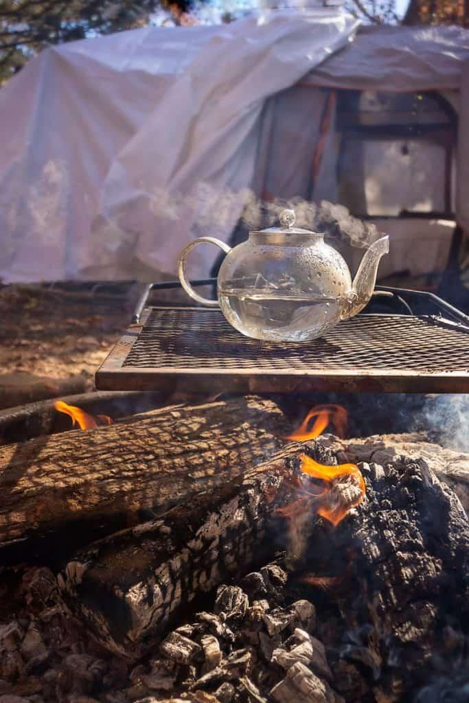 Glass Teapot over Campfire