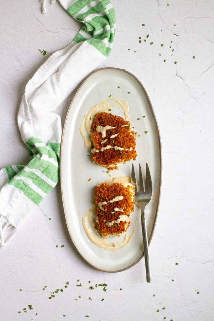 Baked Panko Cod on a Serving Platter