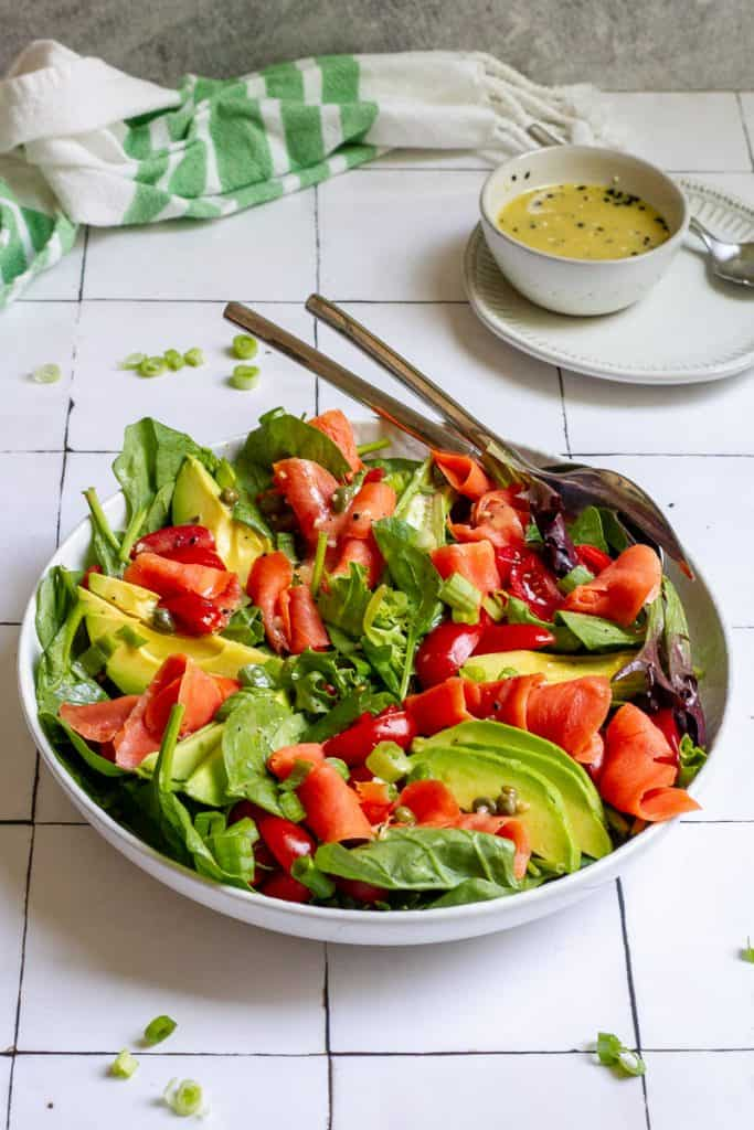 smoked salmon salad in a serving bowl.