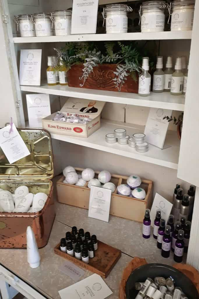 Woodstock Lavender Company items for sale on shelves
