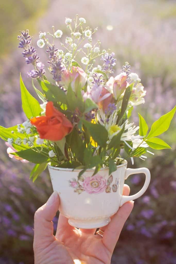 Flowers inside a teacup