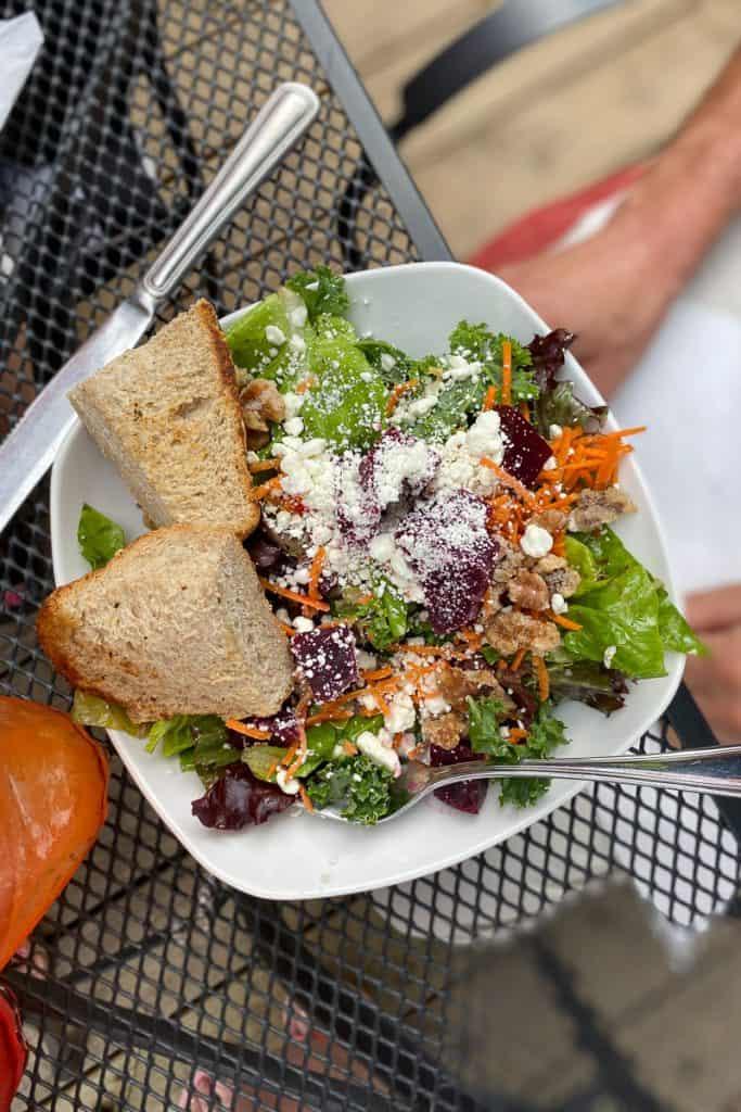 Salad with beets, walnuts, and cheese at Bella's