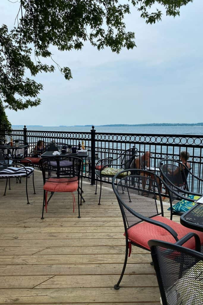 Outdoor dining deck of Bella's, Clayton, NY