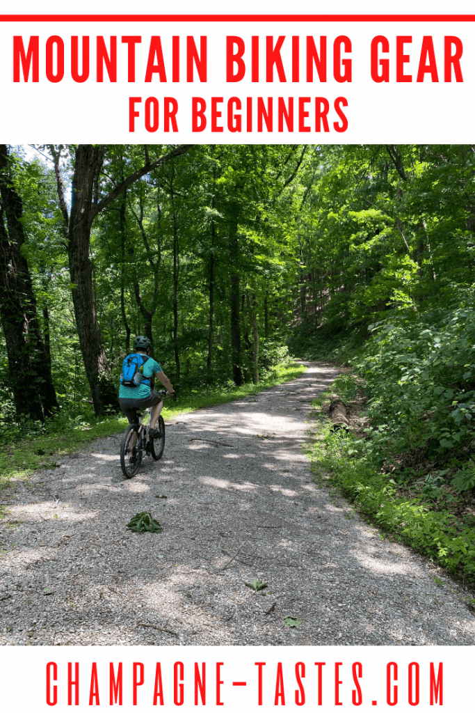 graphic with photo of a bike and text reading 'mountain biking gear for beginners'.