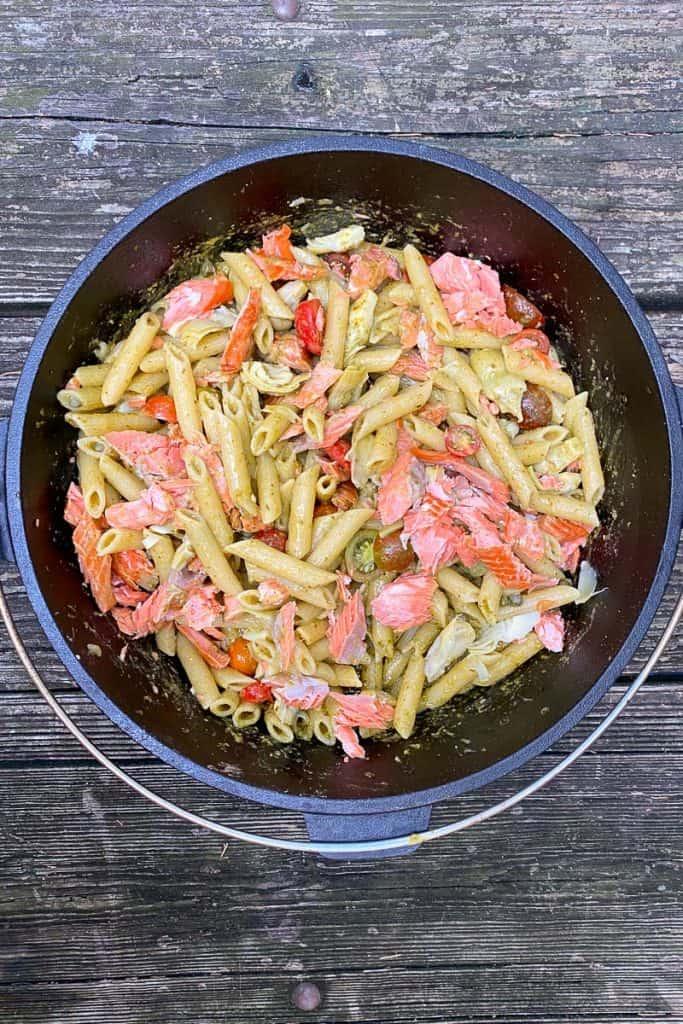 Add Tomatoes, Artichokes, Capers + Salmon to Pasta