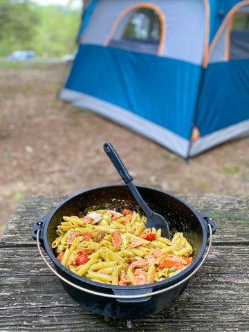 Camping Pasta recipe in a Dutch oven.