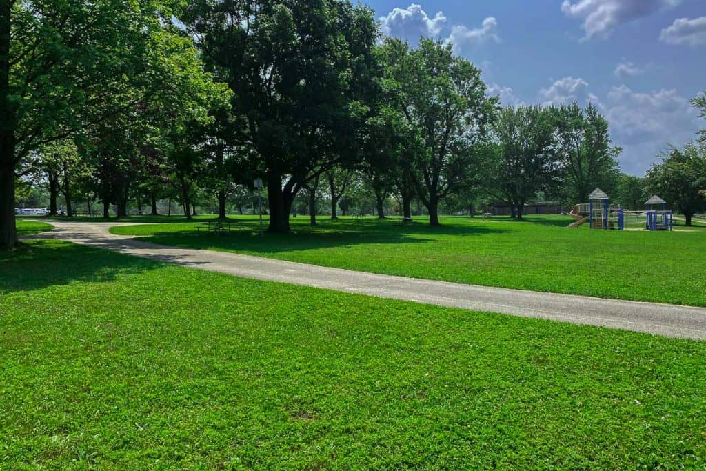 Grassy lawn at Evangola State Park
