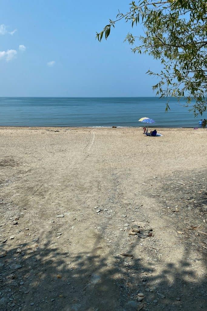 Sandy beach at Evangola State Park