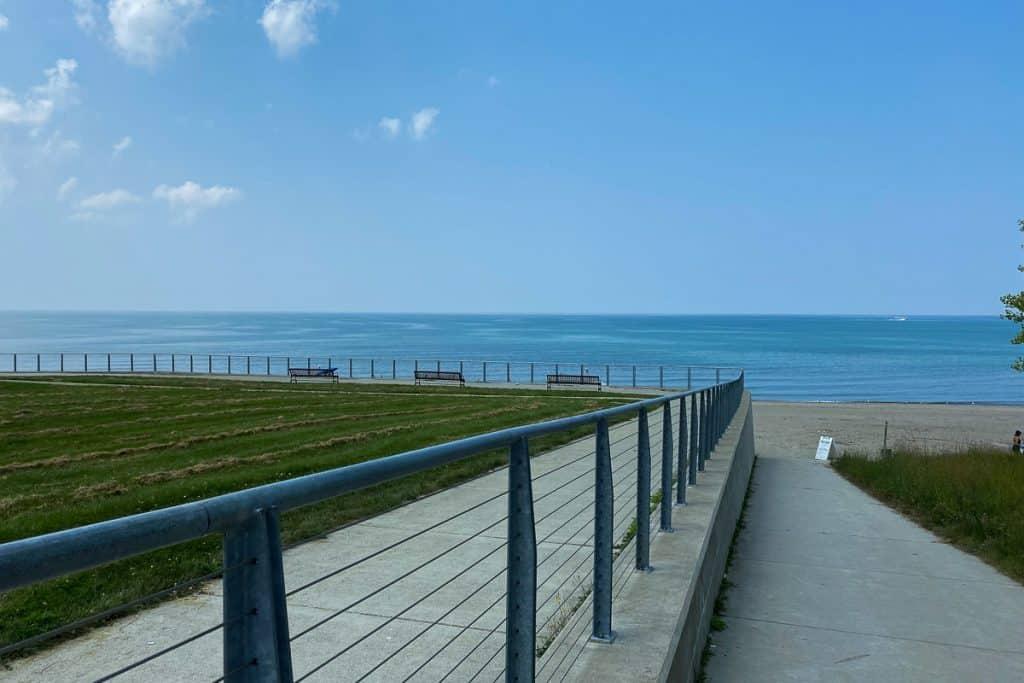 Sidewalk to beach at Lake Erie