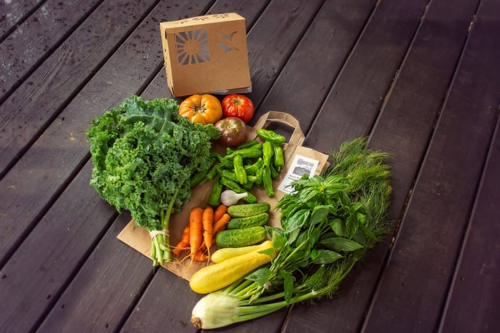 Farm CFA fresh produce delivery with kale and fennel