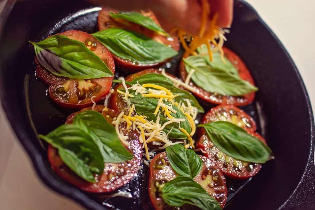 Tomato steaks in cast-iron skillet