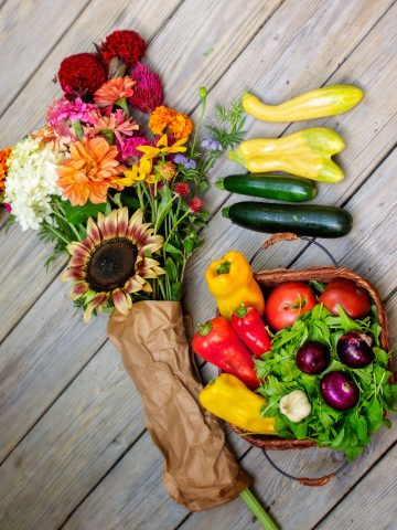 Fresh produce and flowers
