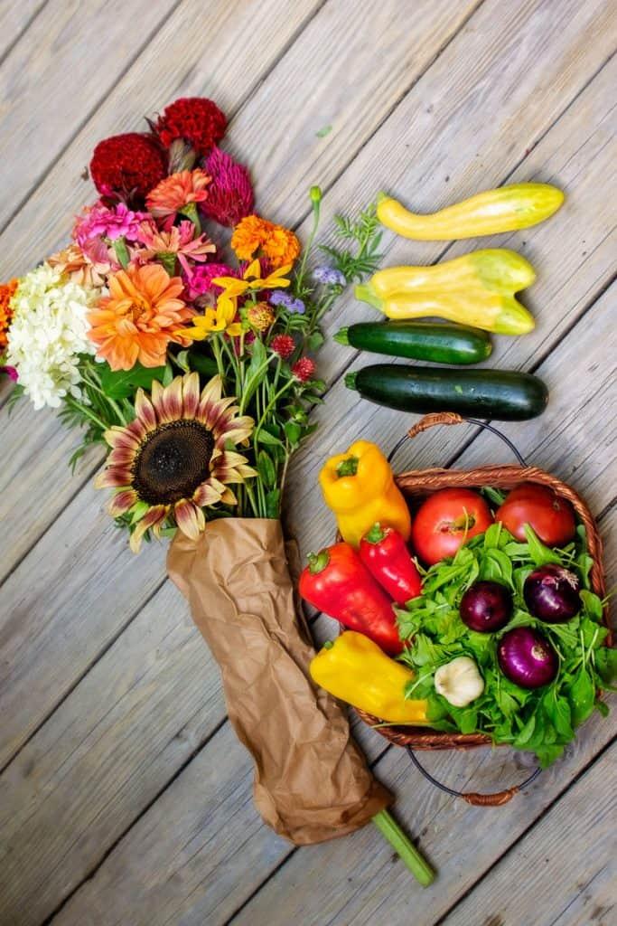 Fresh produce and flowers from a farm CSA