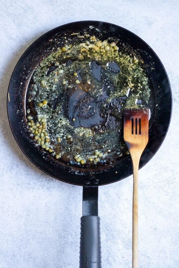 Add Lemon Juice + Capers to Butter.