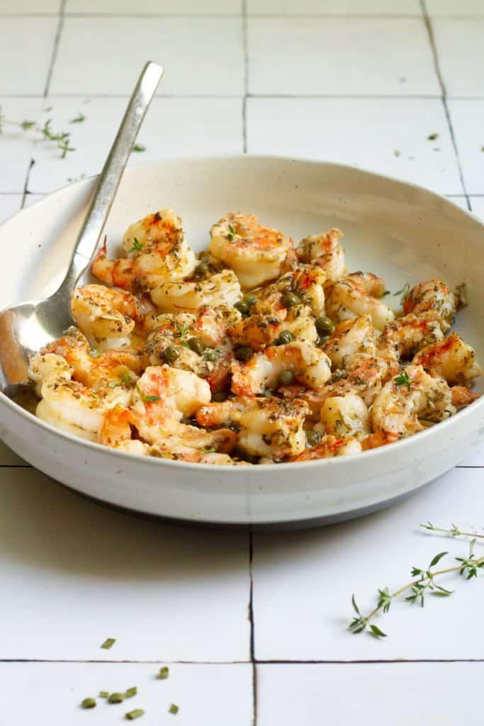 Serve Spot Prawn Recipe with Butter Sauce + Herbs.