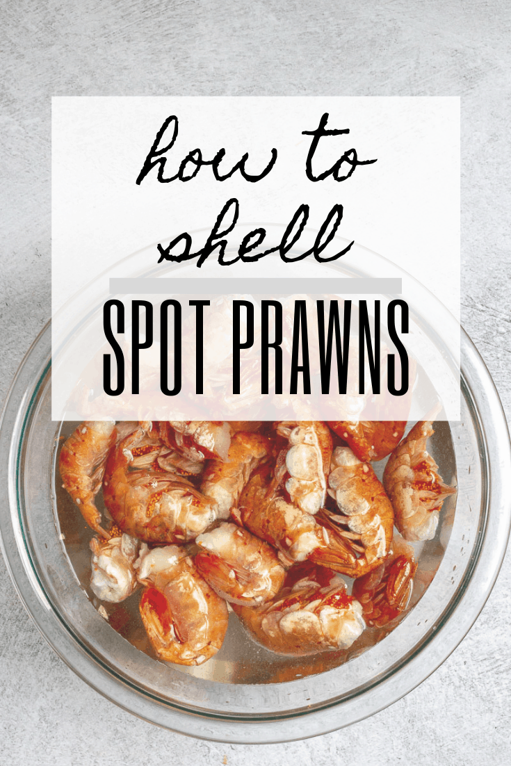 """graphic reading """"how to shell spot prawns"""" with a photo of spot prawns in a bowl."""