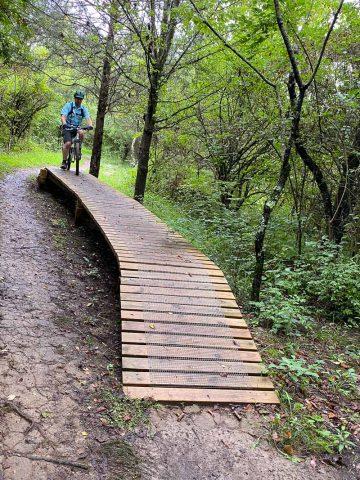 Wooden Berm on the Mountain Bike Trail