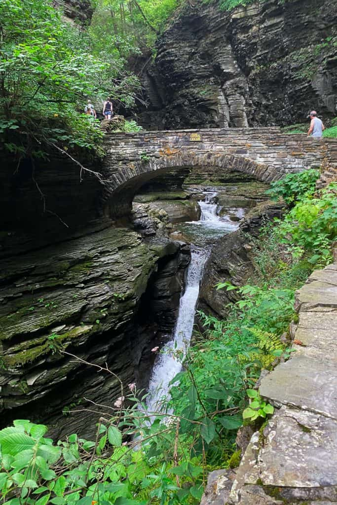 View of Central Cascade waterfall and bridge in Glen Watkins State Park