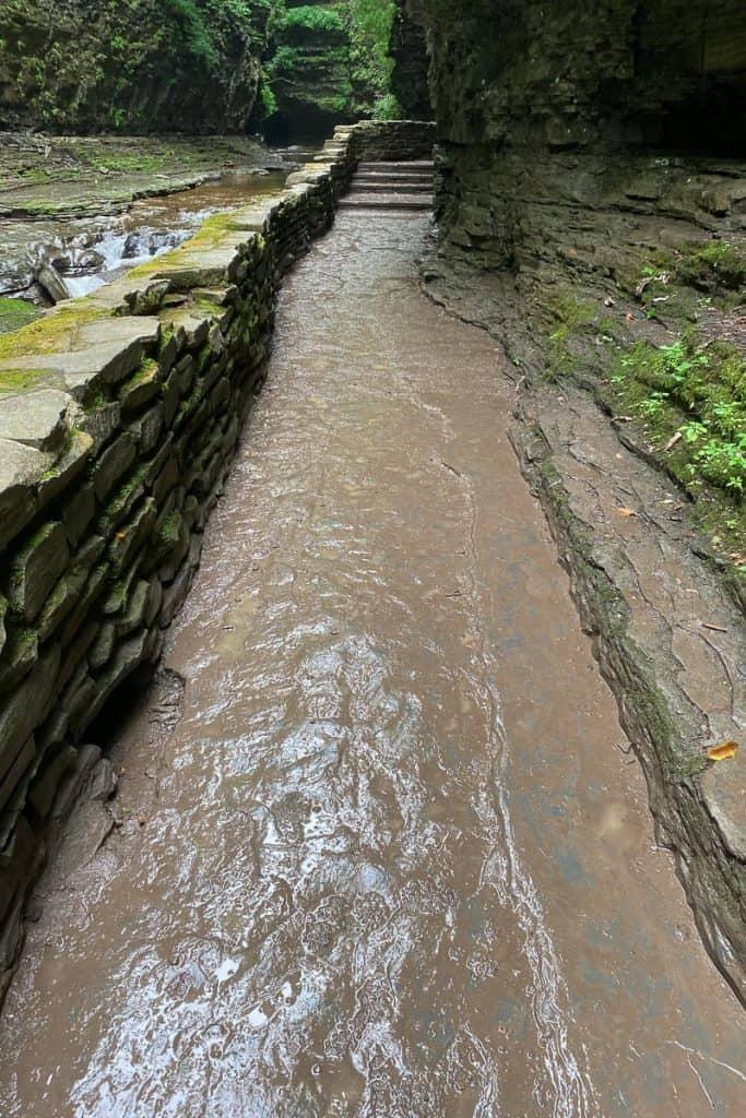 Wet rocky walkway at Watkins Glen