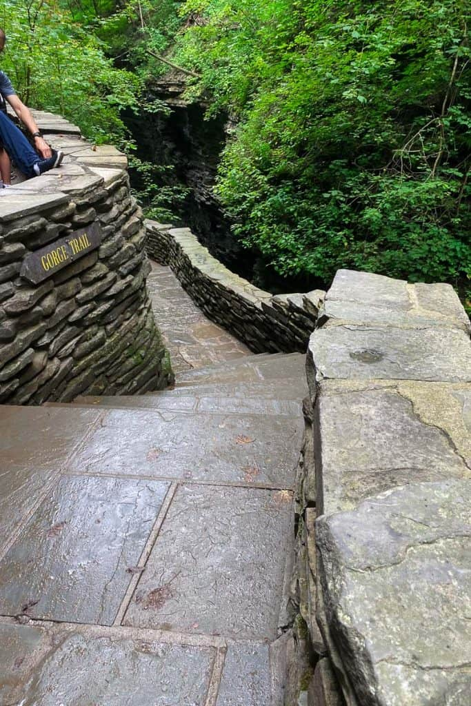 """Steps and stone path with sign reading """"Gorge Trail"""""""