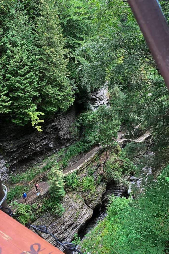 View above Watkins Glen gorge from suspension bridge