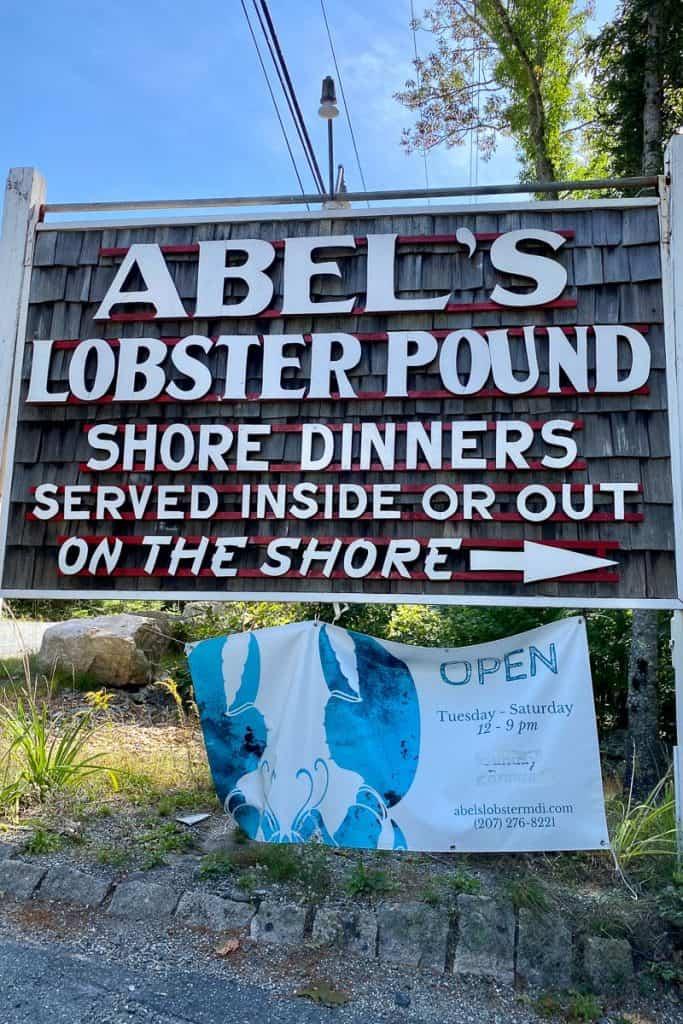 Abel's Lobster Pound roadside sign.
