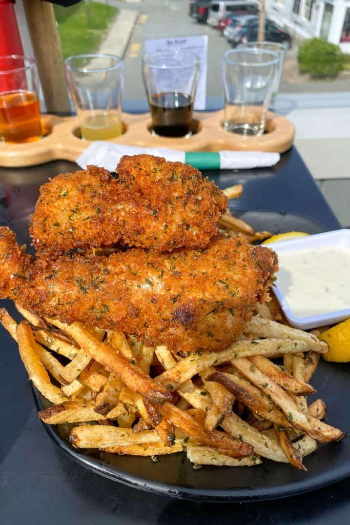 Panko-Crusted Haddock Fish + Chips at Atlantic Brewing Company.