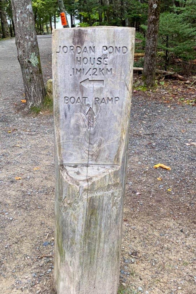 Jordan Pond Trail Marker.