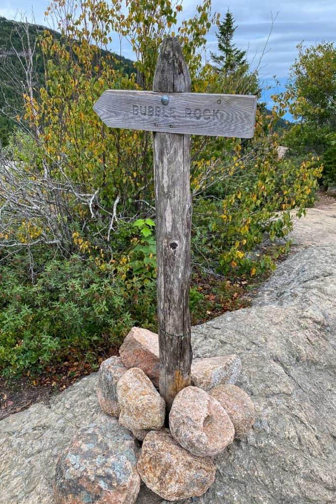 Bubble Rock Trail Marker.