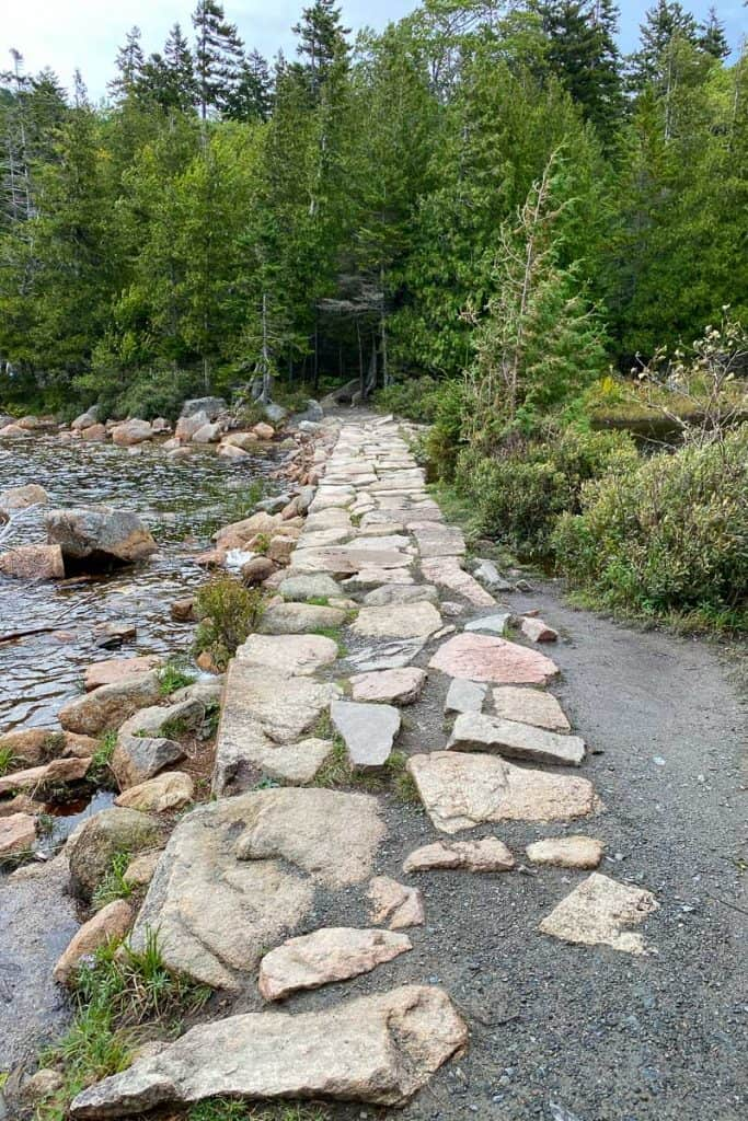 Rocky trail along the edge of the water