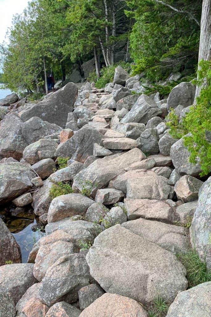 Rocky Portion of Jordan Pond Path.