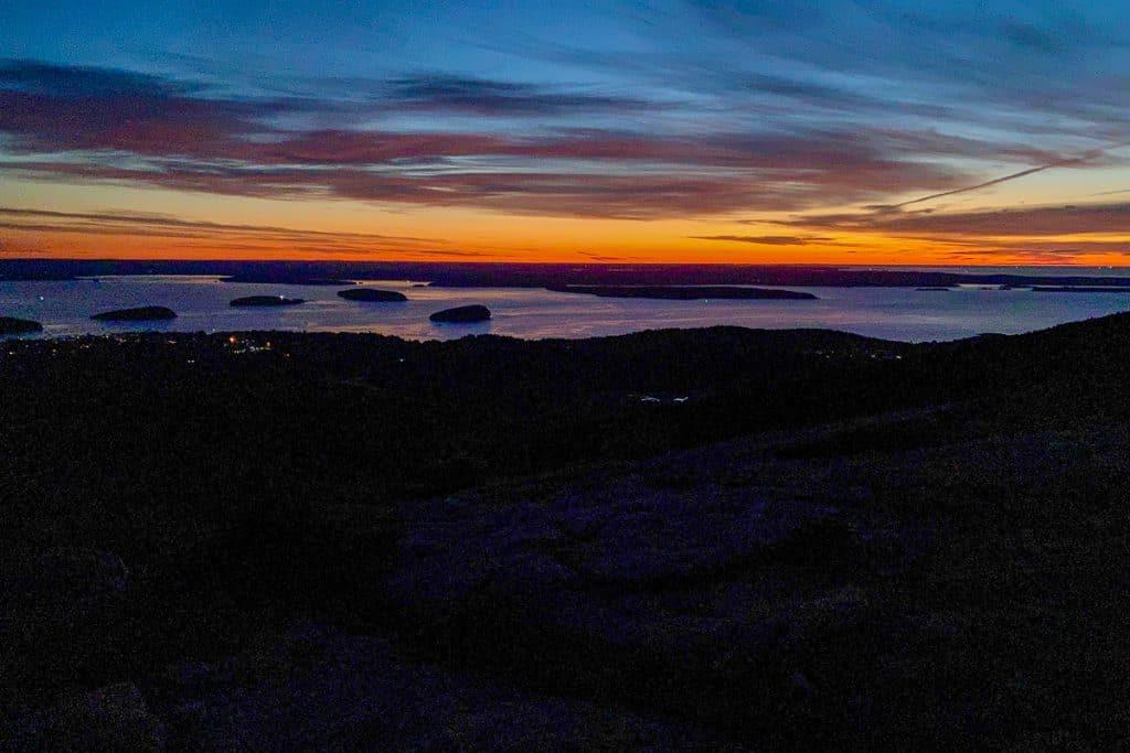 Sunrise on Cadillac Mountain's North Ridge Trail.