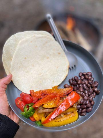 Campfire Fajitas on a plate.
